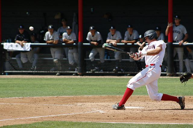 CSUN baseball athlete hits ball at home place