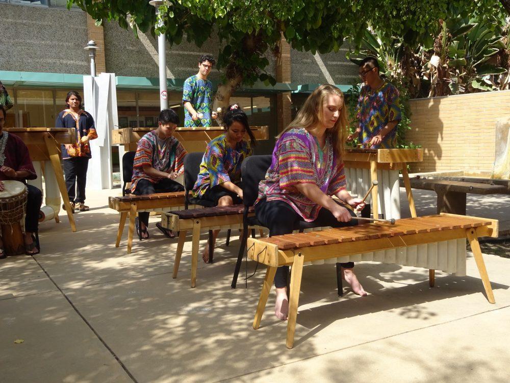 CSUN students play marimbas