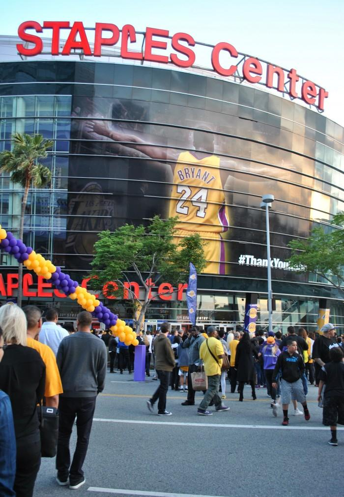 Image of Kobe Bryant outside of Staples Center