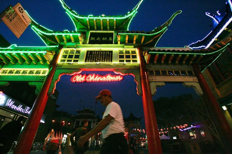 Man stands beneath Chinatown