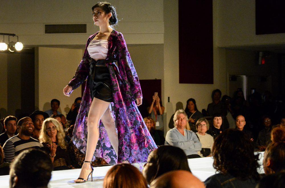 Model walks down the runway