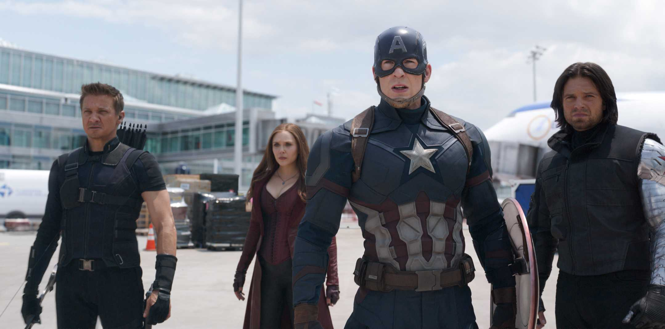 Still from Captain American: Civil War shows Hawkeye, Scarlet Witch, Captain America, and Bucky