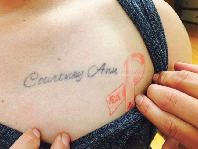 At the age of eighteen, Greg Triana got his sister's name written in script across his heart and a breast cancer ribbon for his aunt. (Ashley Grant/ The Sundial) Photo credit: Ashley Grant