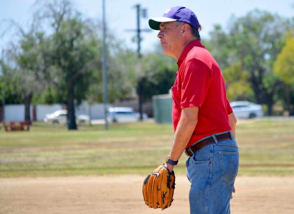 Man shown in first base position