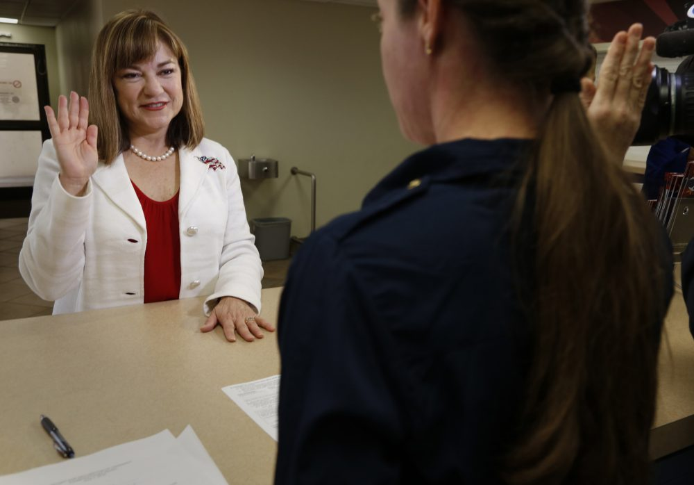 U.S. Rep. Loretta Sanchez (D-Calif.) files her paperwork to enter the U.S. Senate race, at the Orange County Registrar of Voters Office in Santa Ana, Calif., on March 8, 2016. After the paperwork was filled out and a fee was paid, Sanchez was administered an oath by Office Assistant Julianna Maillot. (Mark Boster/Los Angeles Times/TNS)