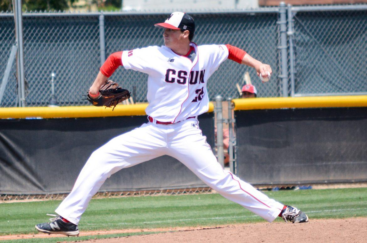 CSUN baseball player throws the ball