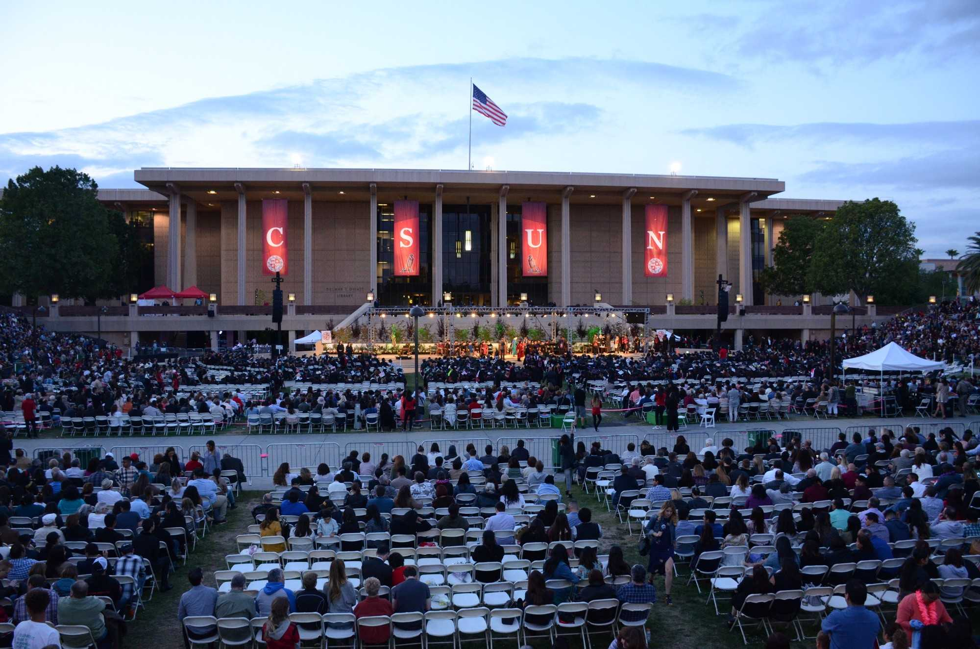 CSUN graduation shown on Oviatt Lawn