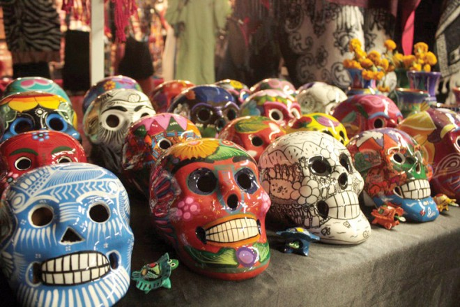 glass skulls with colorful patterns and designs