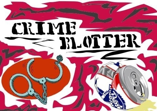 "Art piece shows the words ""Crime Blotter"" above a pair of open handcuffs and a crushed beer can"