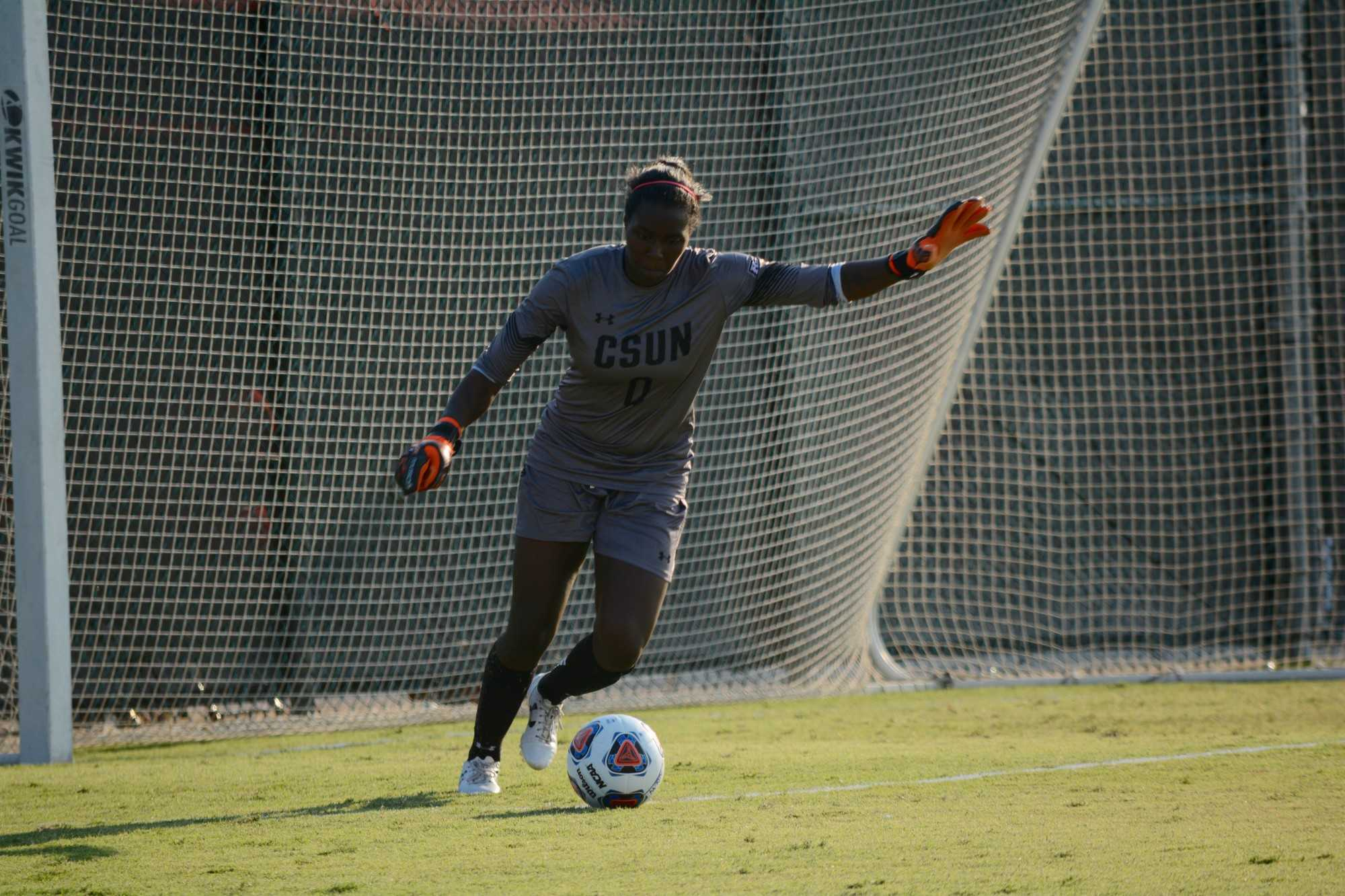 CSUN goalie kicks the ball back out onto the field