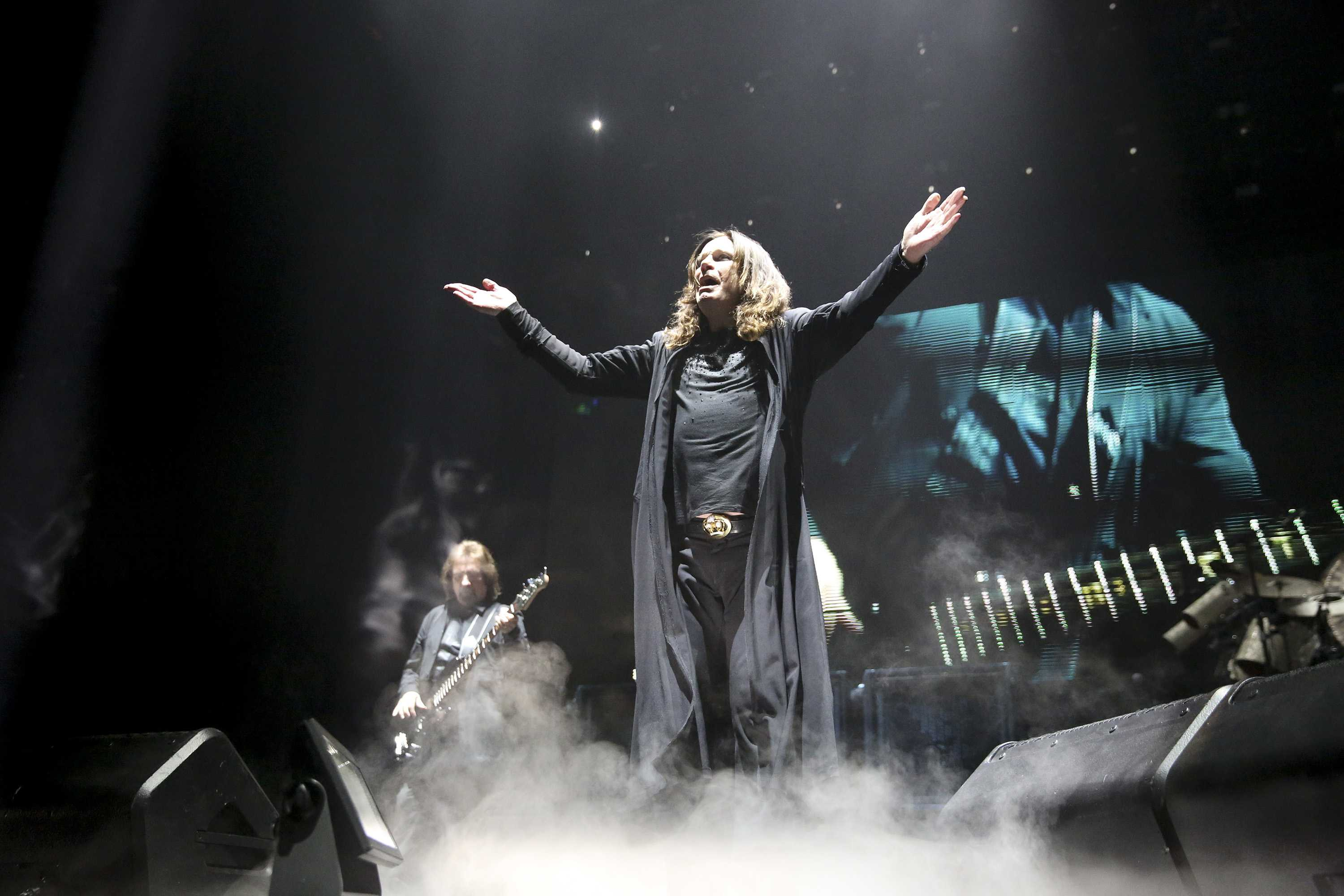 Ozzy Ozbourne pictued performing