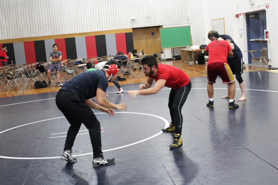 Two students battle at the CSUN wrestling club