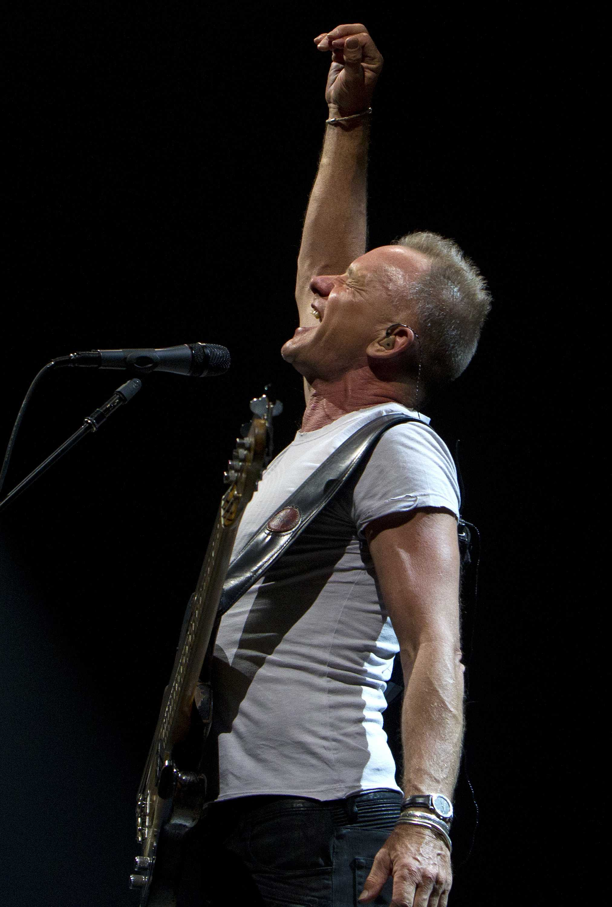 Sting enthusiastically sings into the mic with his hand in the air