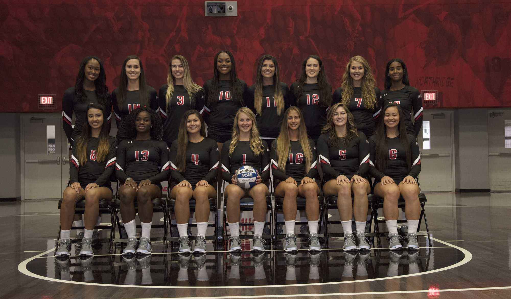 CSUN women's volleyball team poses for photo