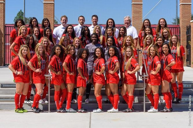 Women's soccer team poses for a team photo