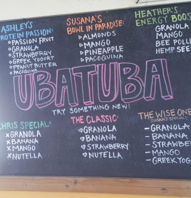 The menu for the acai bowl shop. Photo credit: Donna Lugo