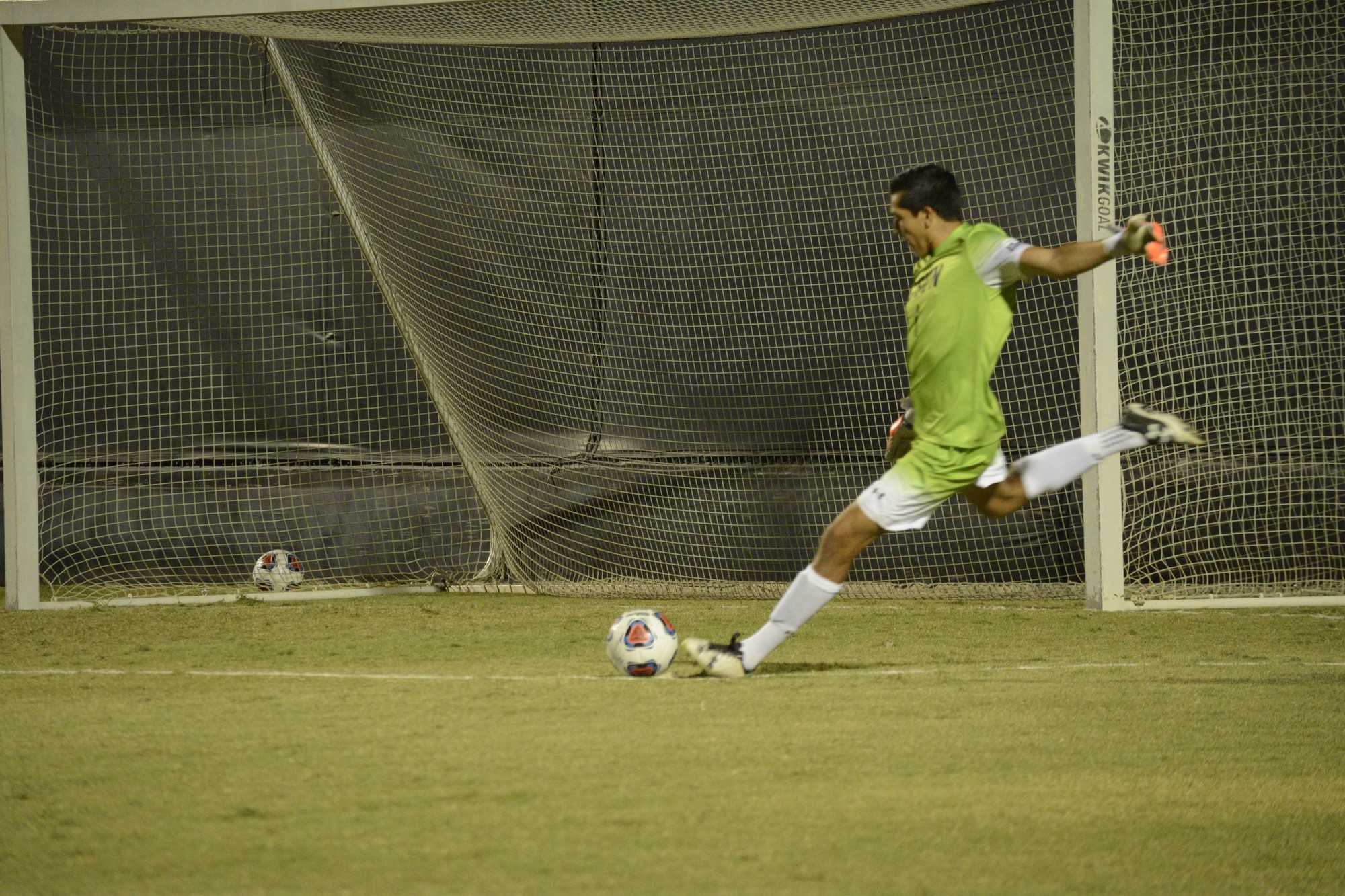 CSUN goalie kicks ball from the goal