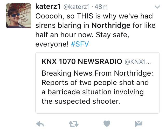 """Tweet says, """"Ooooh so this is why we've had sirens blaring in Northridge for like half an hour now. Say safe, everyone! #SFV"""""""
