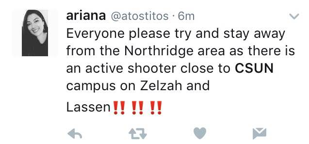 """Tweet says, """"Everyone please try abd stay away from Northridge area as there is an active shooter close to CSUN campus on Zelzah and Lassen!!!"""""""