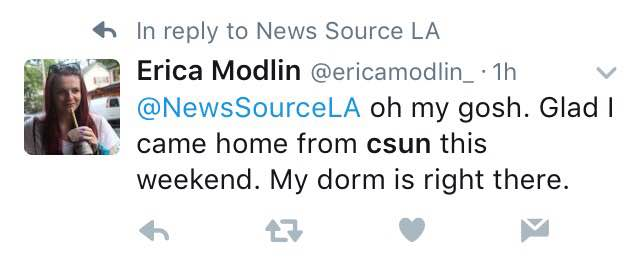 """Tweet says, """"oh my gosh. glad I came home from CSUN the weekend. my dorm is right there"""""""