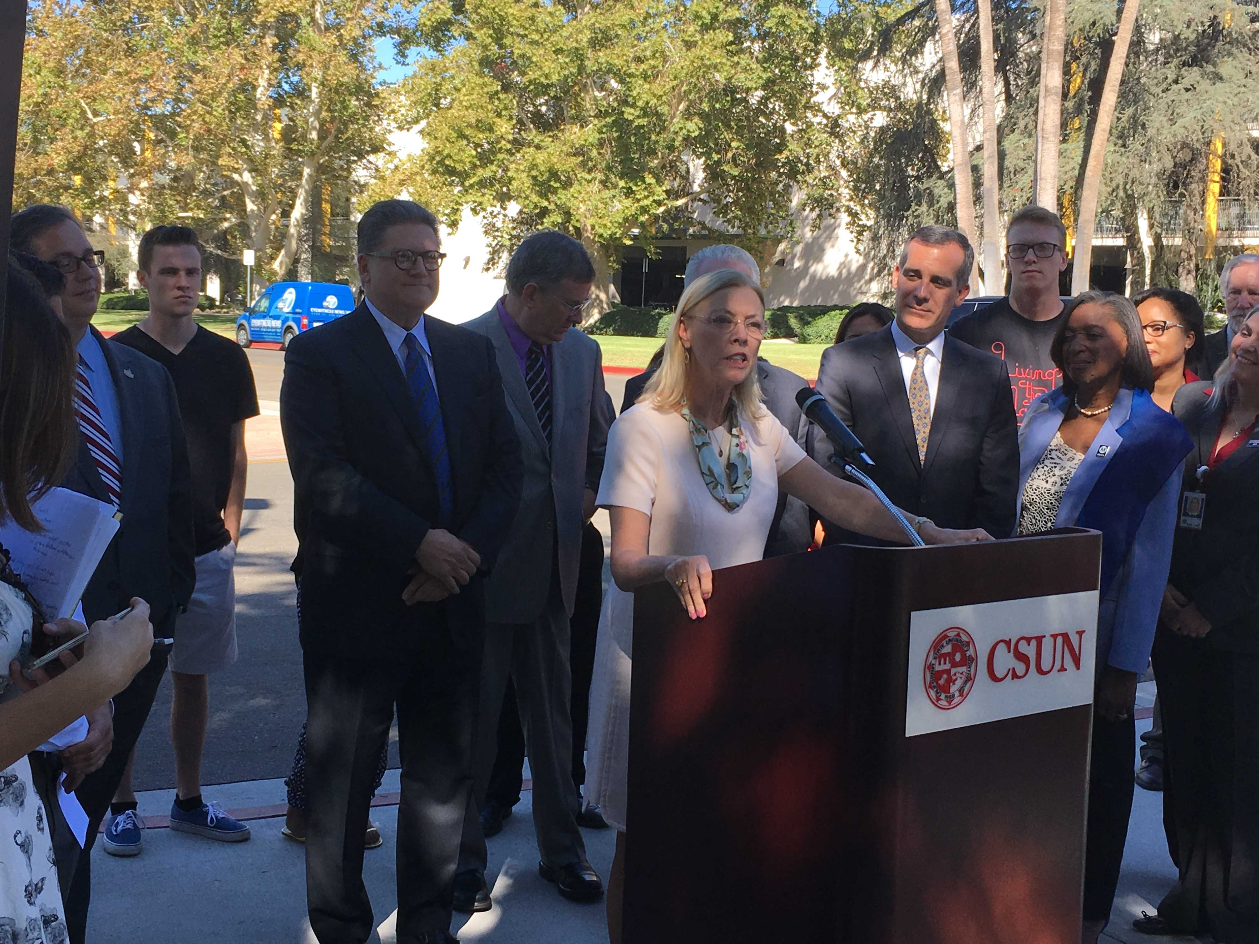 CSUN president speaks at podium