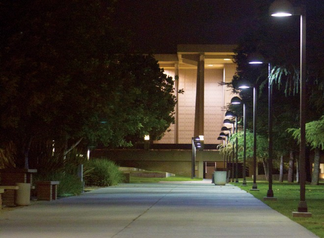 Photo shows the CSUN campus at night