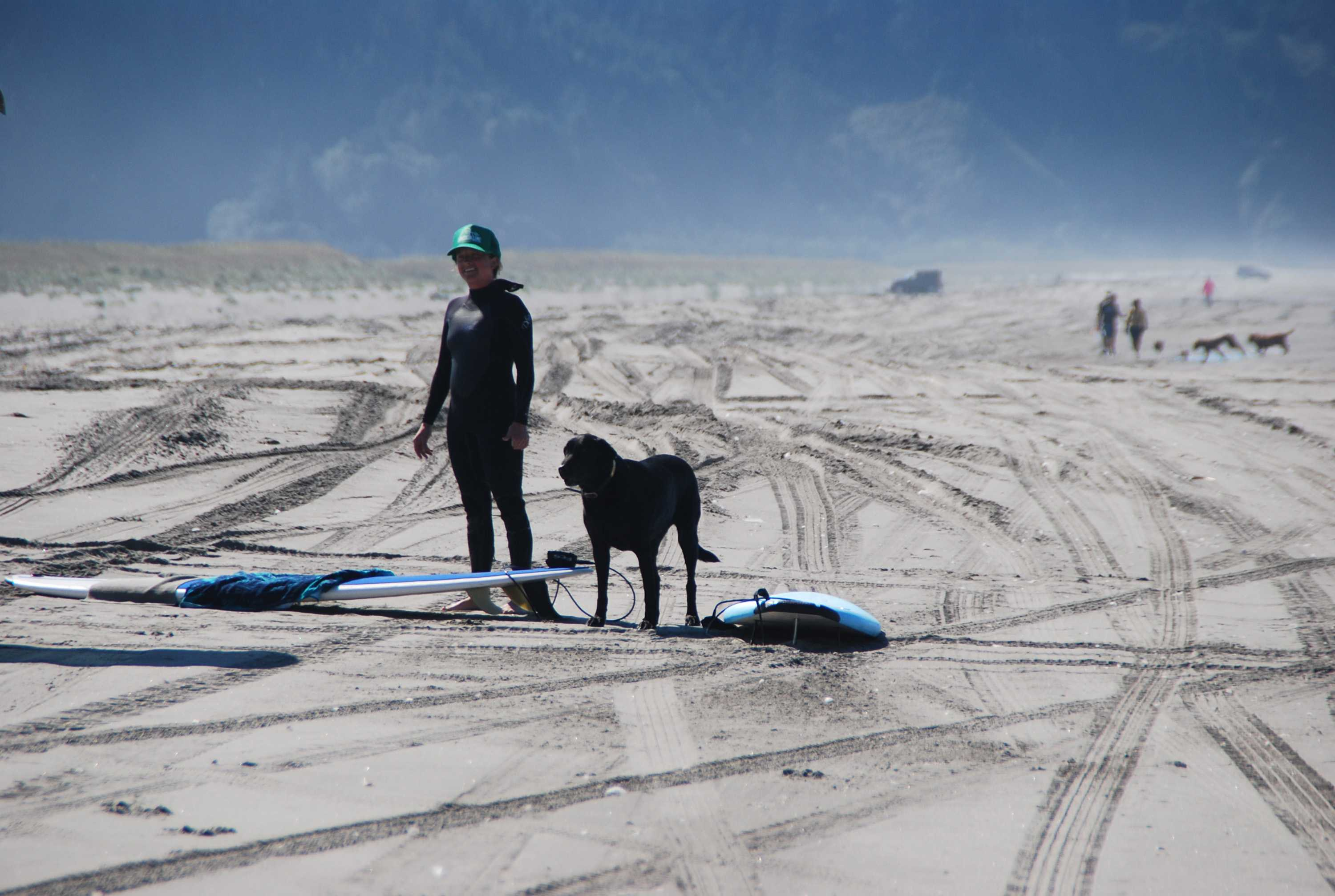 A+dog+goes+surfing+with+her+pet+parent+on+the+shores+of+Long+Beach+Peninsula+in+Washington.+%28Myscha+Theriault%2FMCT%29