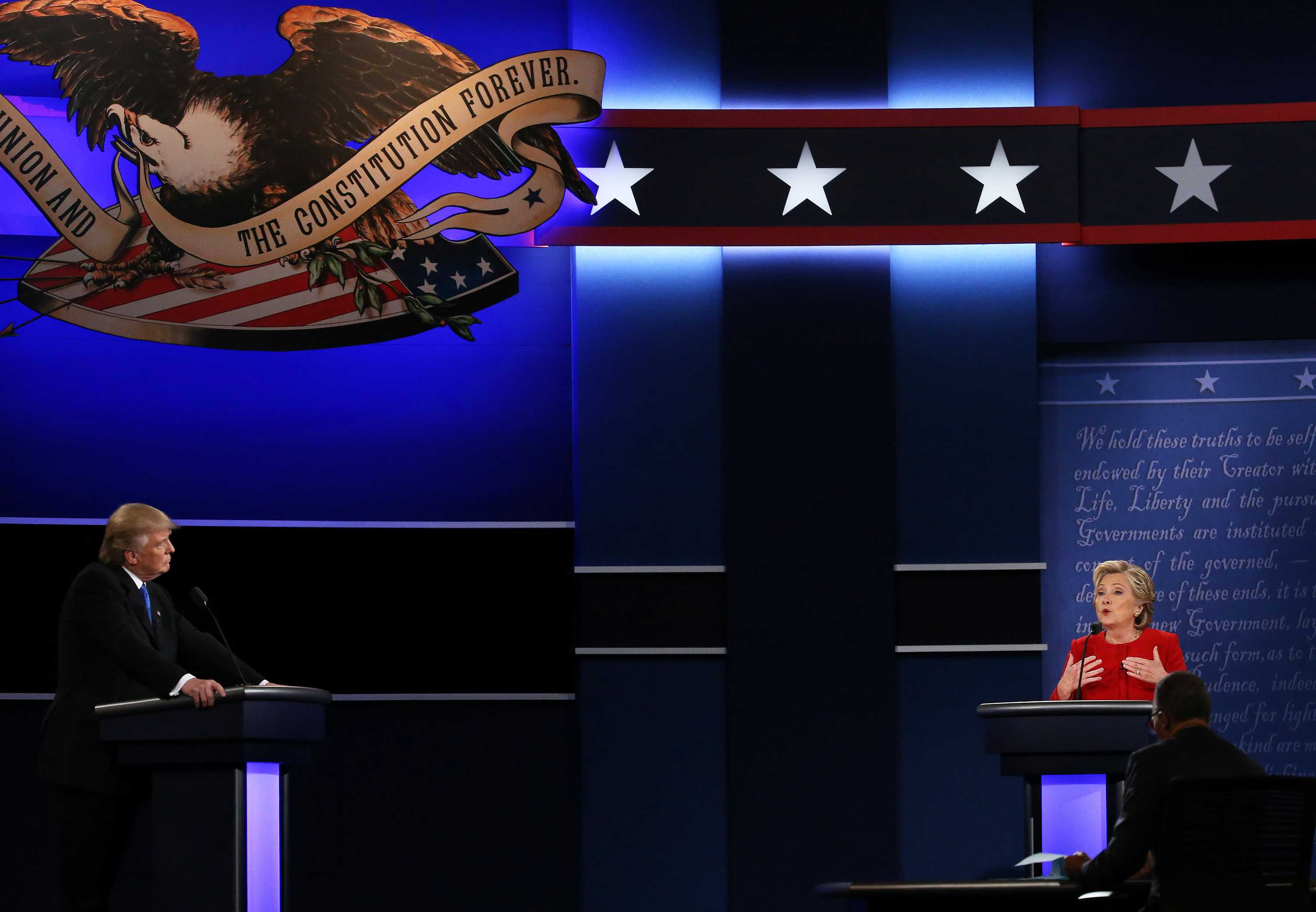Clinton speaks at presidential debate