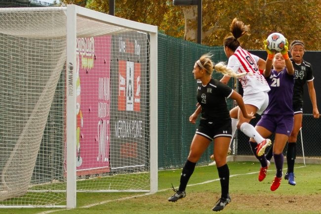 Hawaii goaltender Monk Berger, right, stops a CSUN scoring chance during Sunday afternoon's game at Matador Field. Berger made 6 saves against the Matadors, but the Rainbow Wahine lost in double overtime. Photo credit: Ricardo Varela/ The Sundial