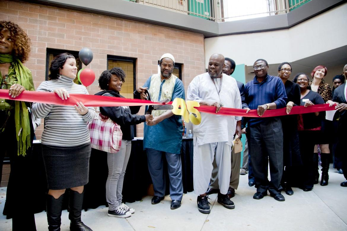 Student cuts ribbon for the 45th anniversary of the CSUN africana studies department