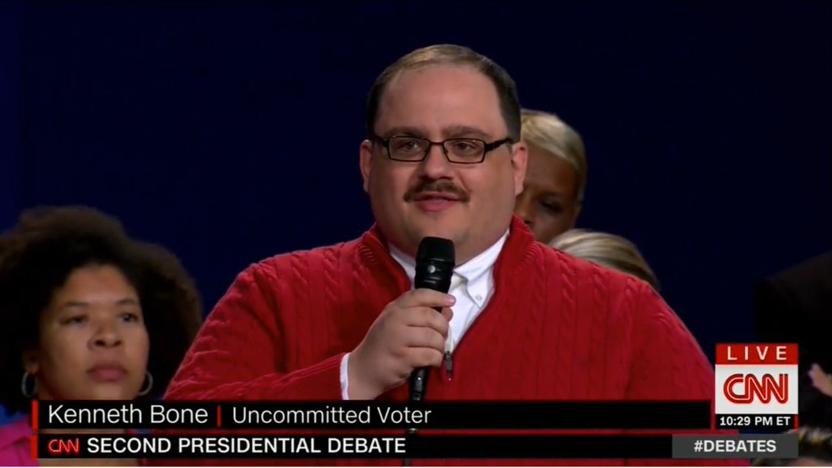 Still of CNN footage of Kenneth Bone speaking about the second presidential debate