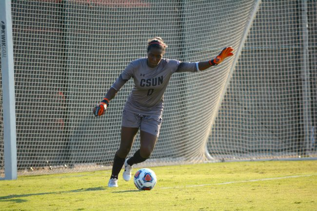 Jovani McCaskill gets ready to kick the ball to her teammates in order to get the ball away from the CSUN goal. Photo Credit: Kendall Faulkner/The Sundial