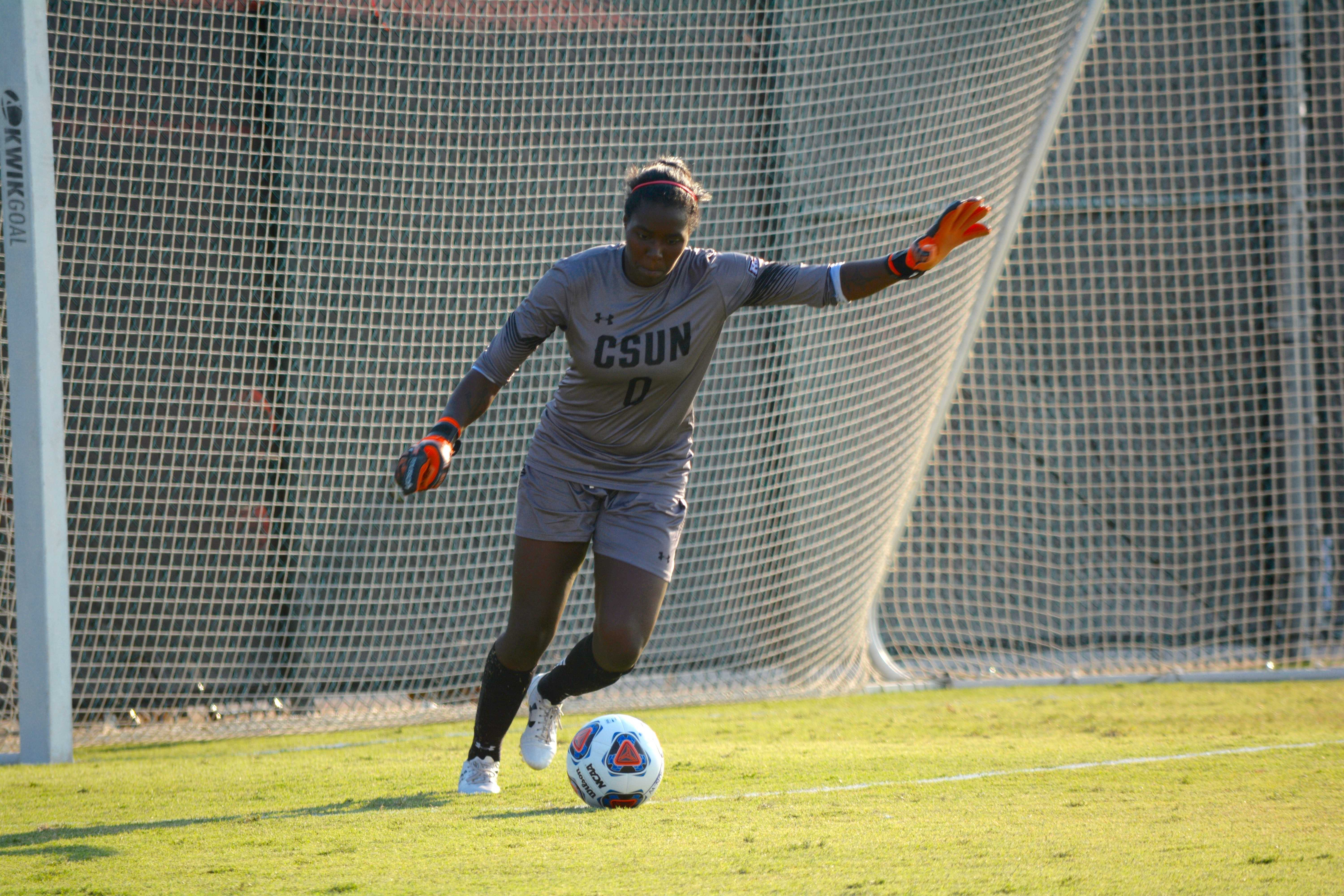 CSUN goalie prepares to pass ball