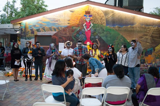 People who performed in the small skit introducing themselves at the Chicanx House Oct. 27,2016