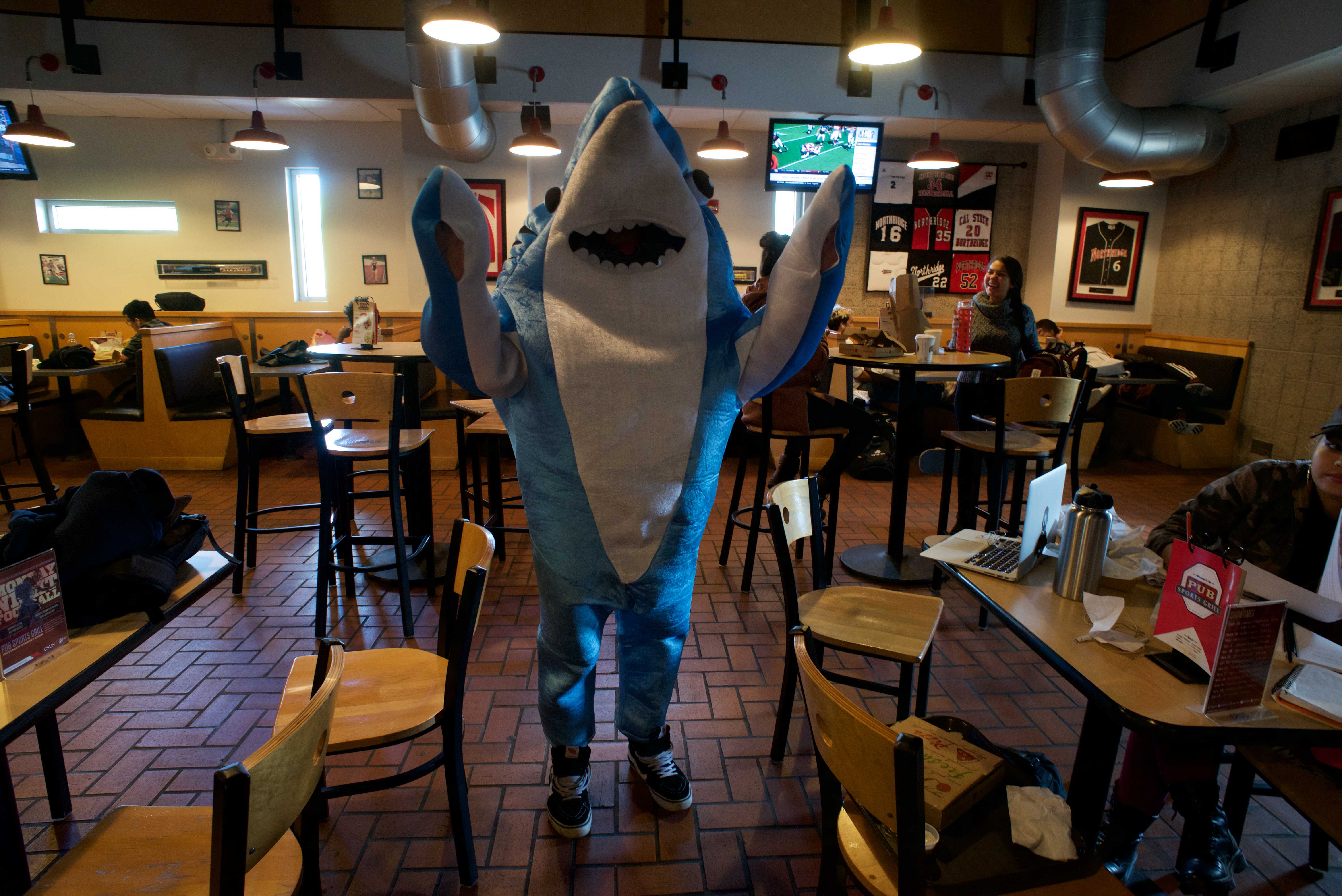 Student dressed up as a shark from Katy Perry's superbowl performance