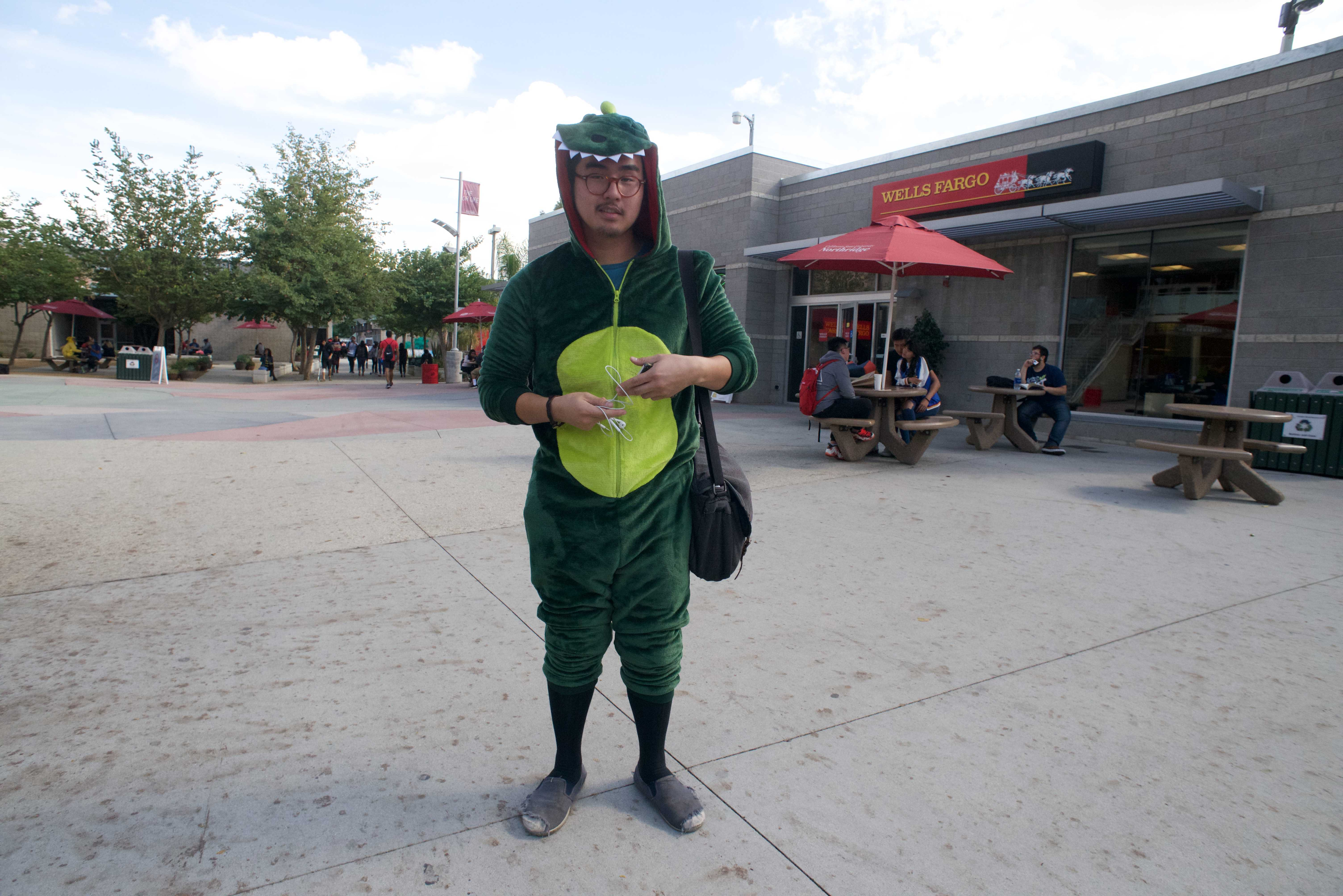 Student dressed as dinosaur