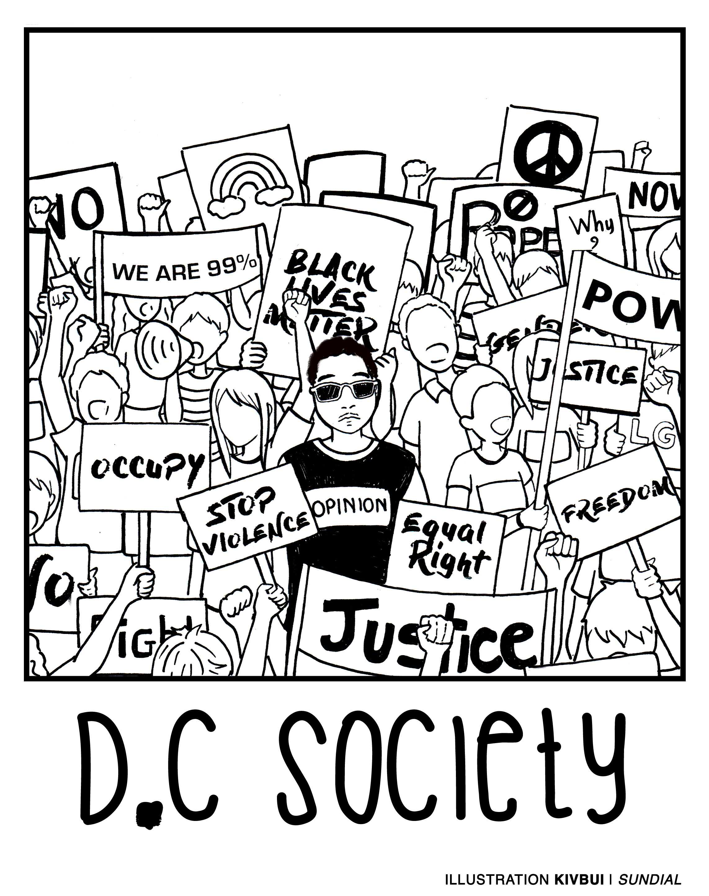 "Illustration shows a protest with the words ""D.C Society"" written at the bottom"