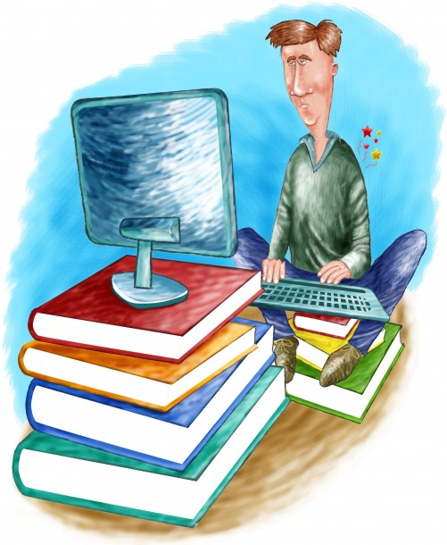 Illustration of student atop a pile of books working on a computer