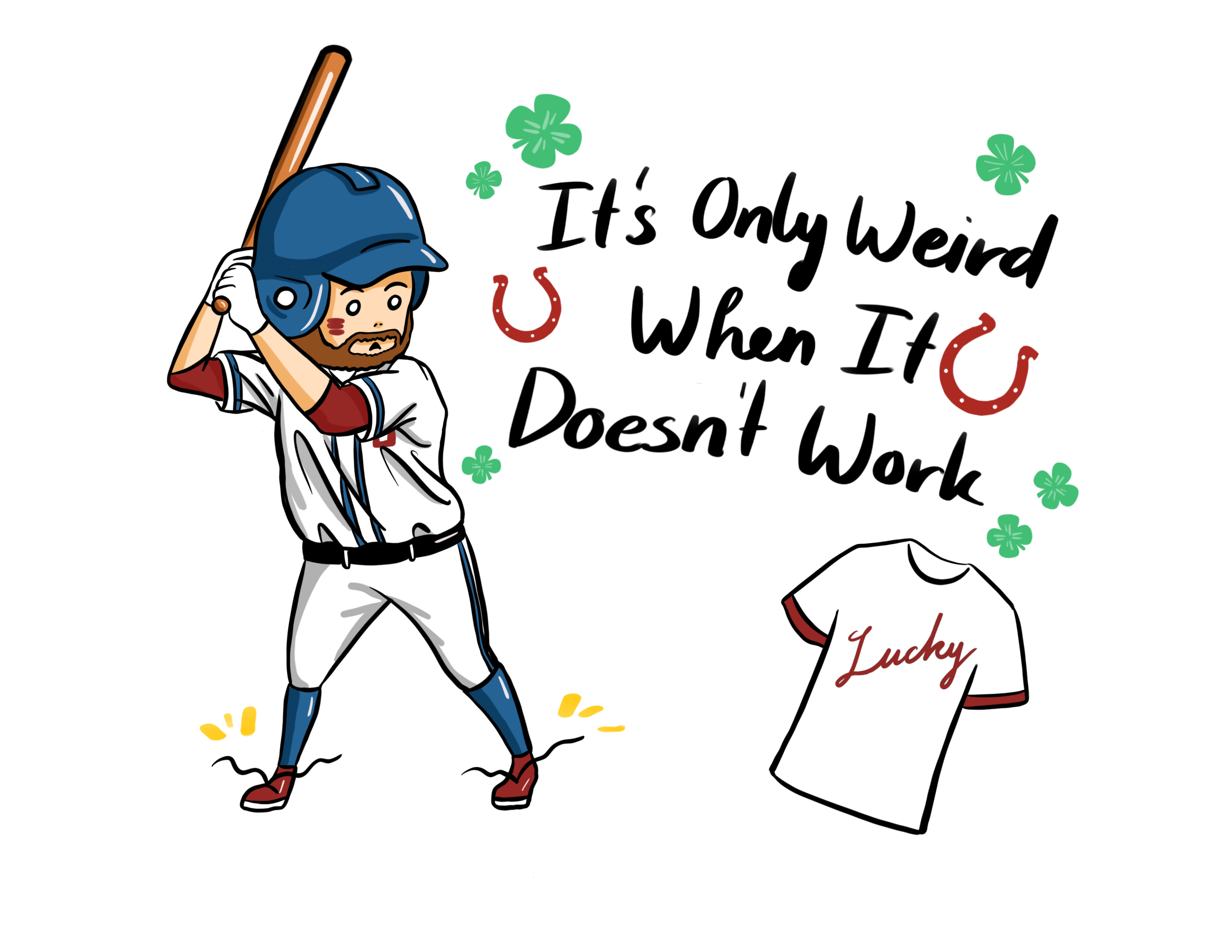 Illustration shows baseball player next to the words,