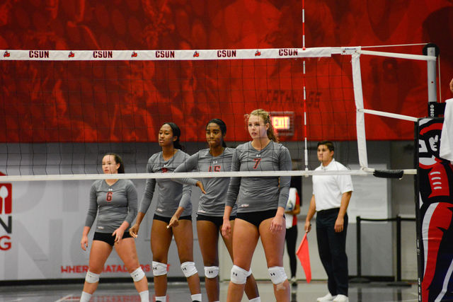 FROM LEFT TO RIGHTErin Indermill, Aeryn Owens, Melissa Eaglin,Lauren Conati starring at their opponent(UCSB) while they re position themselves on 9/30/16 at Matadome. Photo Credit: Alejandro Aranda