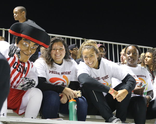 CSUN students pictured with Matty the Matador at Pride Night