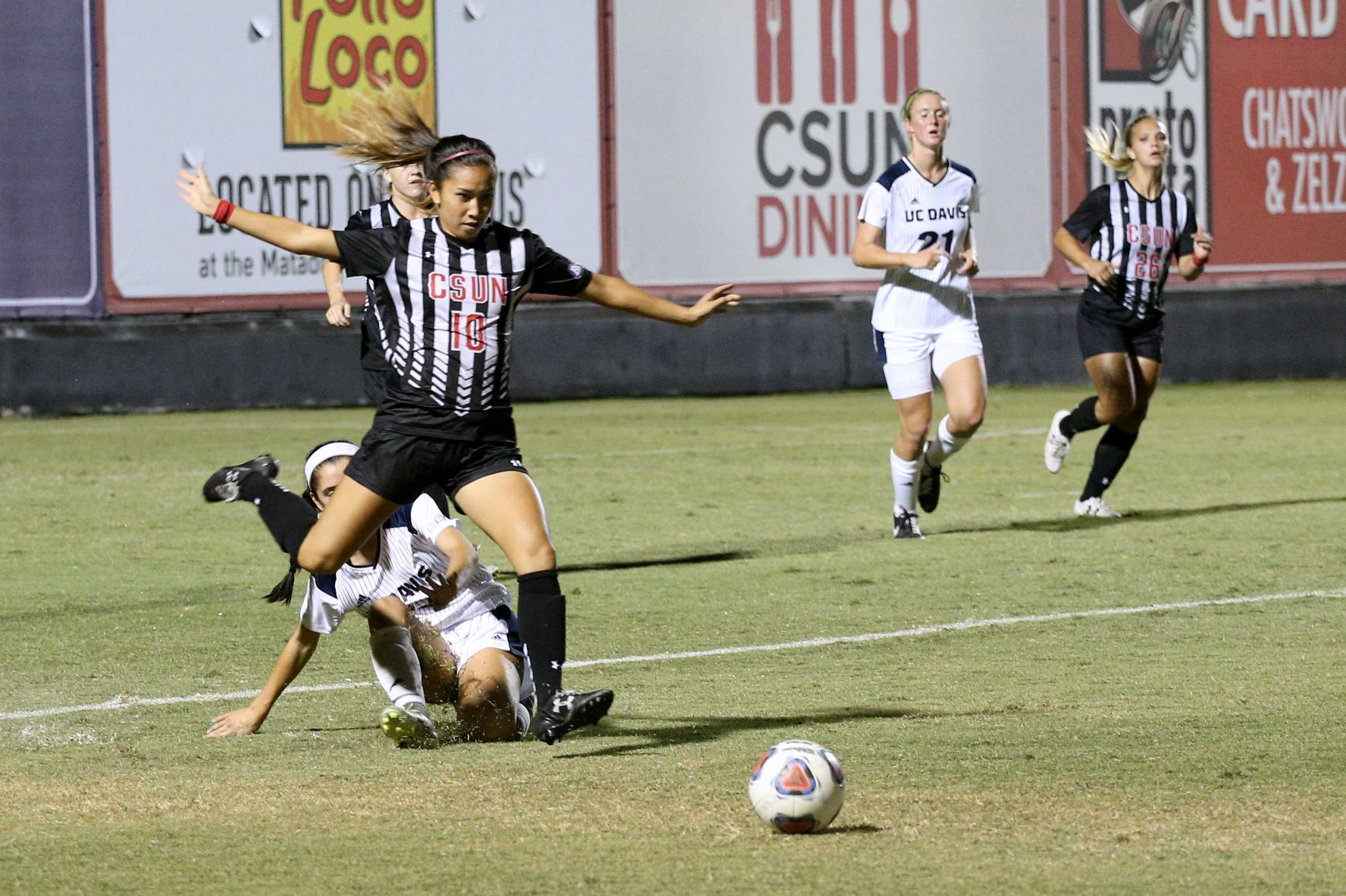CSUN player prepares to kick ball