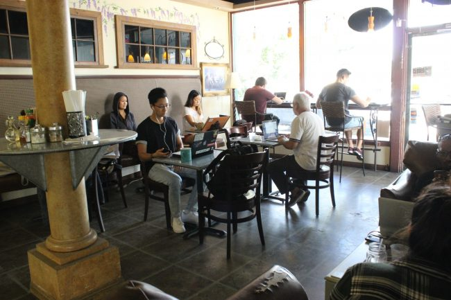 Diners and coffee drinkers working on laptops at Gayle's Perks on Oct. 7, 2016.