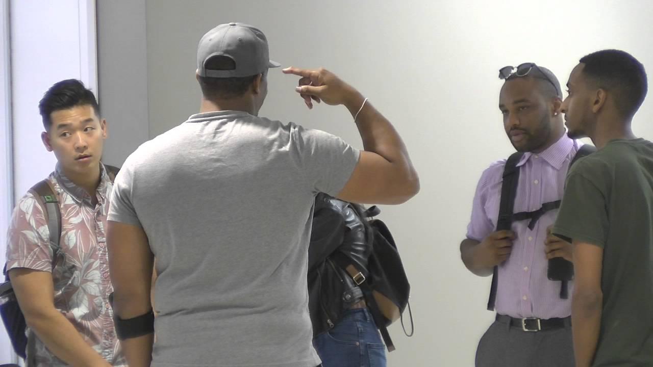Actors pictured discussing scenes