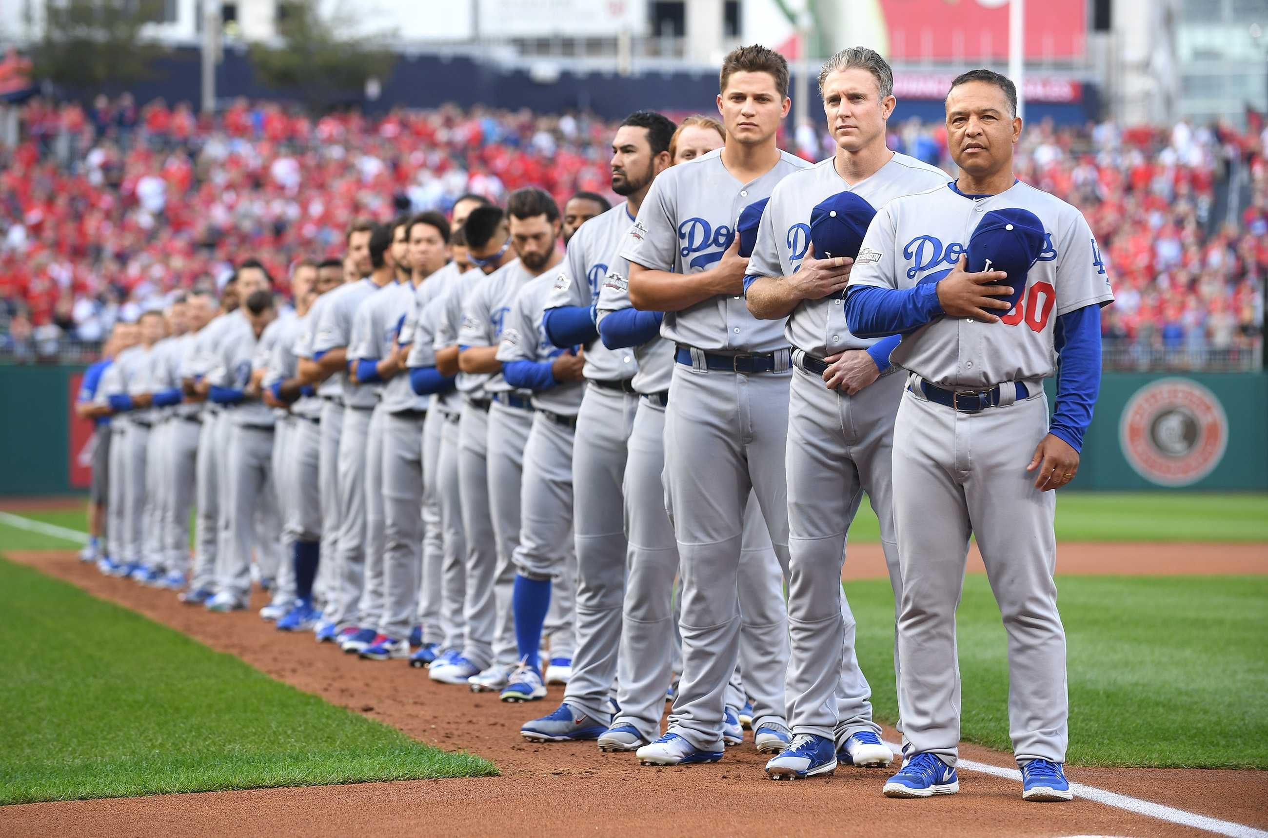 LA Dodgers stand for the pledge of allegiance