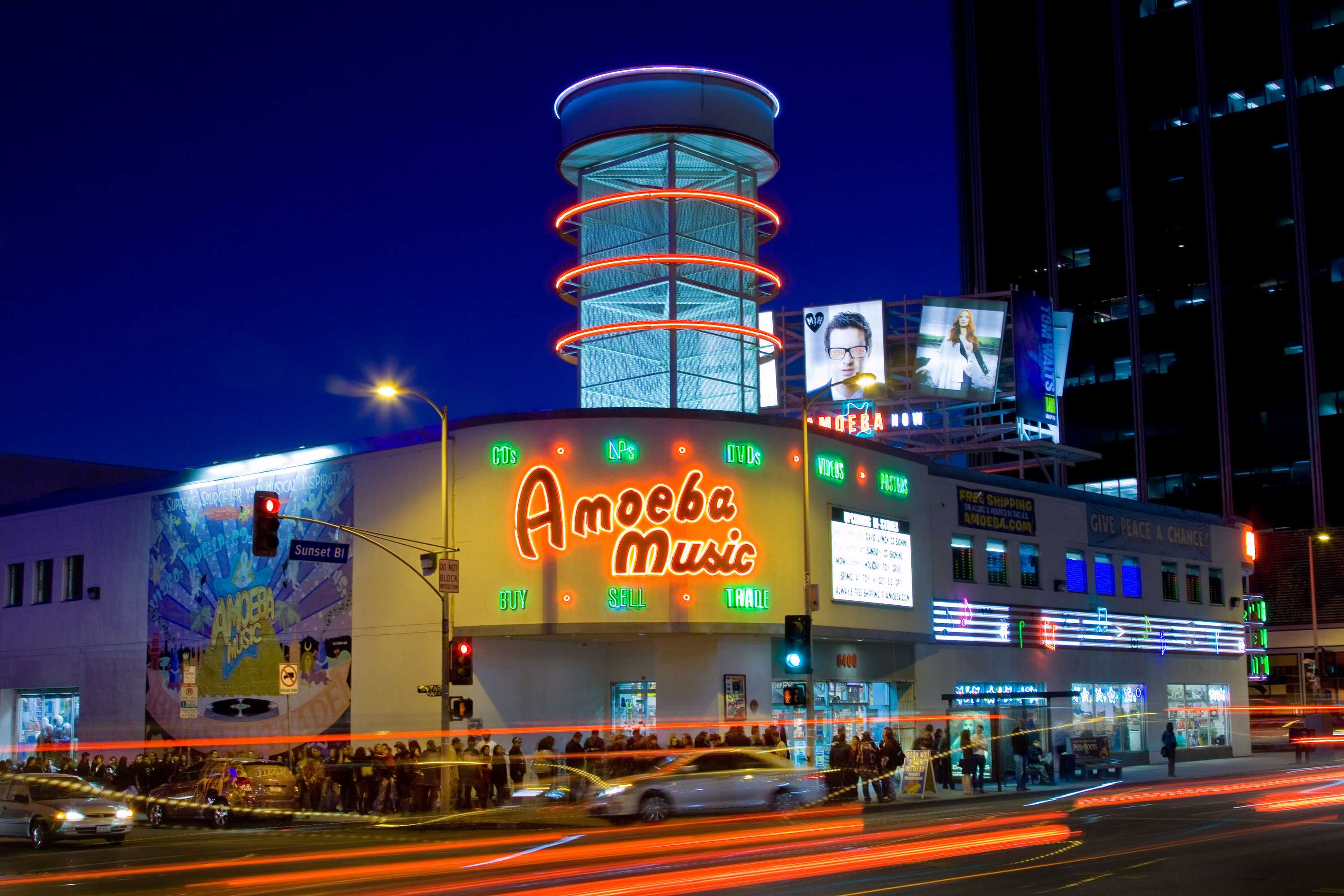 Photo shows outside of Amoeba Music store on sunset blvd