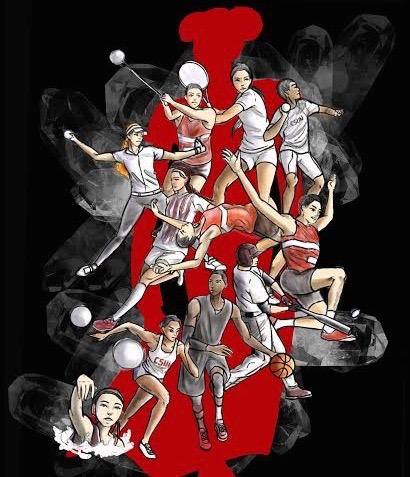Illustration shows female athletes