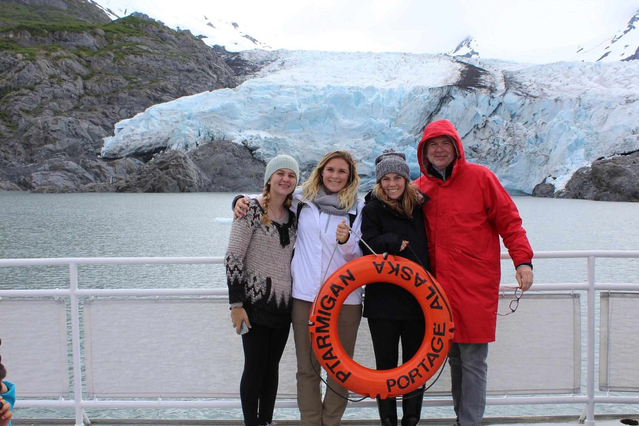From left to right: Olivia Jackiewicz, Tera Trujillo, Kirsten Von Meter and Ed Jackiewicz at the Portage Glacier in Alaska. Photo credit: Kirsten Von Meter