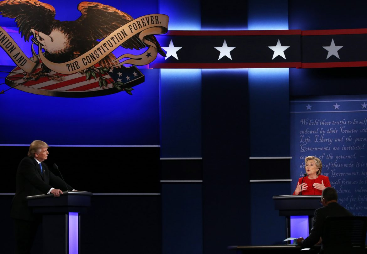 Clinton specking during first presidential debate