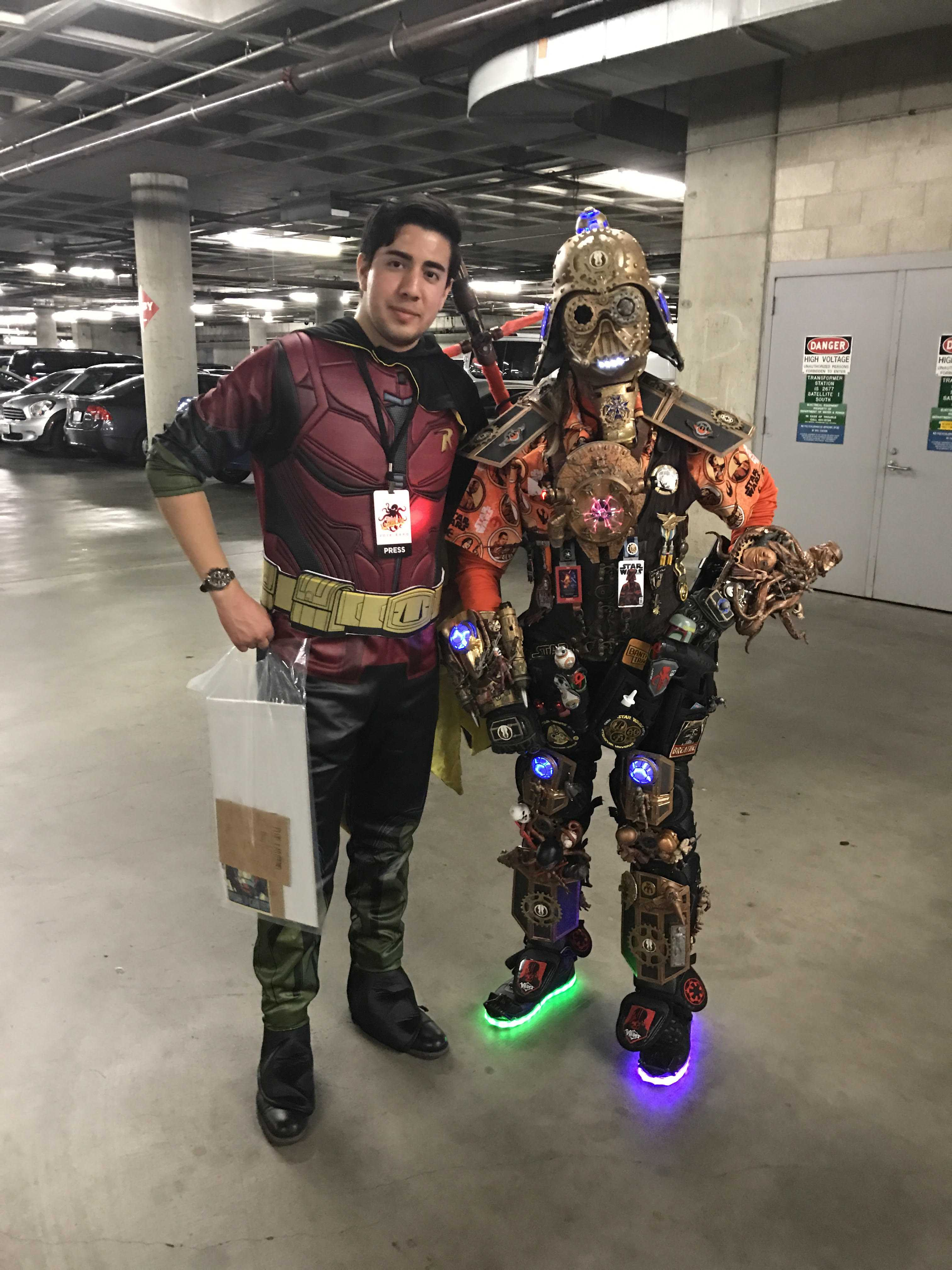 Two fans dressed up in cosplay for LA comic con